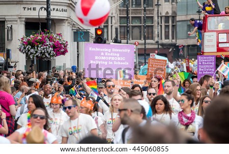 LONDON, JUNE 25, 2016: LGBT Gay Pride Parade & Spectators  - stock photo
