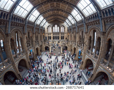 LONDON - JUNE 14, 2015 : People at the Top of a Staircase at the Natural History Museum in London on June 14, 2015. Unidentified people. - stock photo
