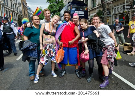 LONDON - JUNE 28: People take part in London's Gay Pride, 2014 Worldpride on June 28, 2014 in London, UK, estimated 25,000 people took part in the march, Parade to support gay rights.
