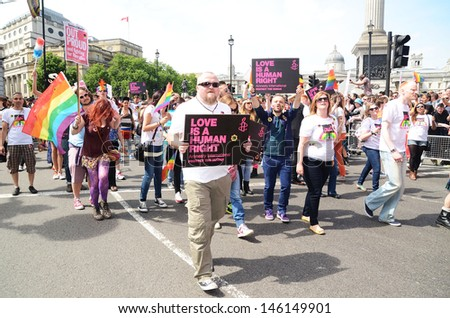 LONDON - JUNE 29: The annual Pride march goes through London, the march celebrates Gay, Lesbian and Bi Sexual people , London June 29th, 2013 in London England.