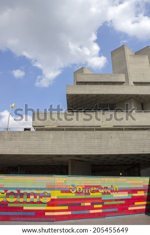 LONDON - JUNE 21. The brutalist concrete National Theatre building, june 21, 2014, on the Southbank, London, UK. - stock photo