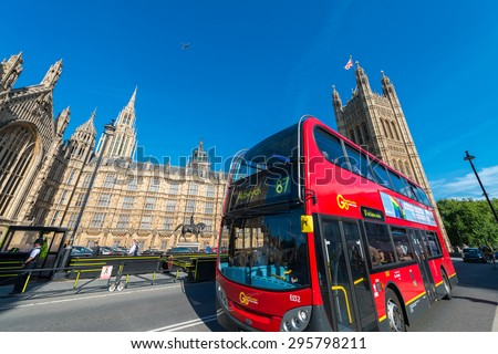 LONDON - JUNE 14: The much heralded hybrid 'New Bus For London' is now in service on route 38. It is 50% more fuel efficient than existing diesel buses. JUNE 14, 2015 in London - stock photo