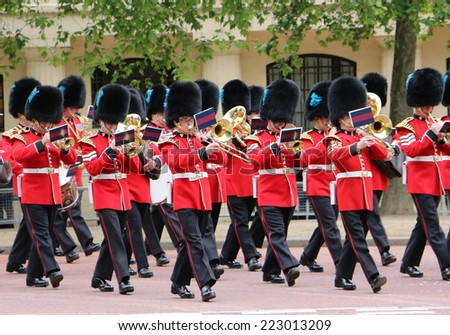 LONDON - JUNE 2 2013: The Queens Guard at the Queens birthday rehearsal parade - stock photo