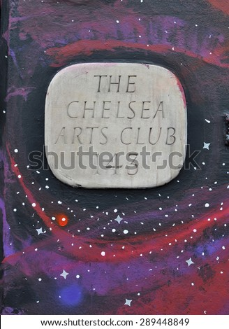 LONDON - JUNE 20, 2015. The temporary painted mural by artist Steve Stephenson surrounds the entrance sign of The Chelsea Arts Club in the Royal Borough of Kensington and Chelsea, London. - stock photo