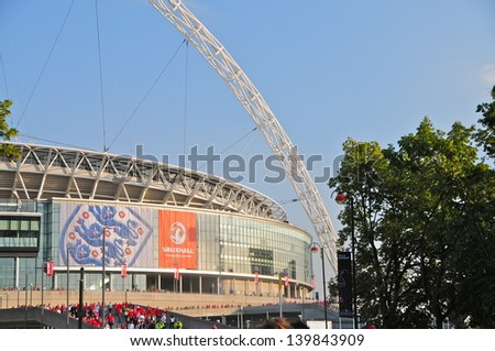 LONDON - JUNE 4 : Wembley Stadium, London on June 4, 2010. The 90000-capacity venue is the second largest stadium in Europe, and serves as England's national stadium. It opened in 2007. - stock photo
