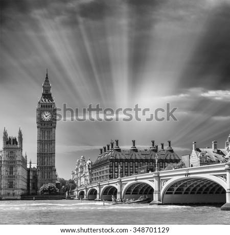London landmarks in black and white. - stock photo