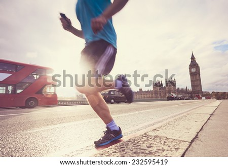 London man running Big Ben - stock photo