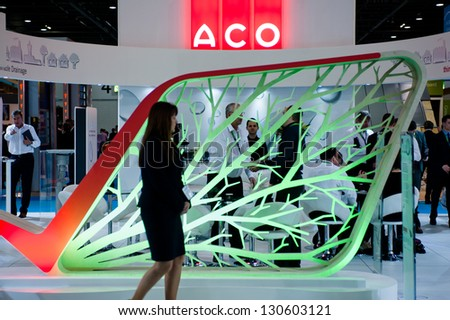 LONDON - MAR 6: ACO stand during Ecobuild 2013 at Excel in London, UK on March 6, 2013. Ecobuild is the world's biggest event for sustainable design, construction and the built environment. - stock photo