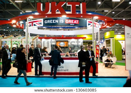 LONDON - MAR 6: UKTI stand during Ecobuild 2013 at Excel in London, UK on March 6, 2013. Ecobuild is the world's biggest event for sustainable design, construction and the built environment. - stock photo