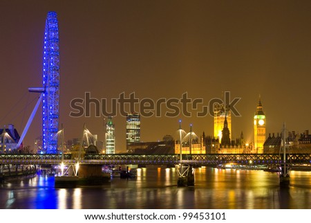 LONDON - MARCH 20: A night scene of London on March 20, 2012 in London, England. London is the capital city of England with over 7 million residents. - stock photo