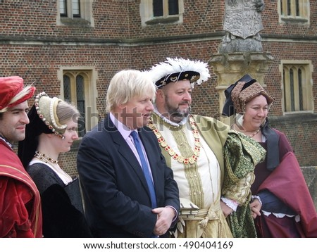 London, March 2009 - Boris Johnson, then Mayor of London and now UK Foreign Secretary, visits Hampton Court where he meets actors dressed as King Henry VIII and his court