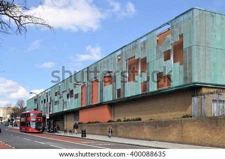 LONDON - MARCH 31, 2016. Haverstock School is a comprehensive school designed by Feilden Clegg Bradley Architects for 1225 students aged 11 to 18, located in the Borough of Camden, north London, UK. - stock photo