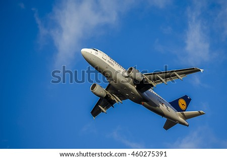 LONDON - MARCH 2015: Passenger Aircraft in Lufthansa Livery. Airbus A319