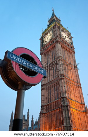 LONDON - MARCH 17: The Big Ben. The London 'Underground' logo will be used  for other transportation systems - has been announced by Transport for London (TfL), taken March 17, 2011 in London - stock photo