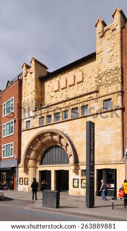 LONDON - MARCH 22, 2015. The distinctive facade of the Whitechapel Gallery, designed by Charles Harrison Townsend, a venue for temporary exhibitions founded in 1901 located in east London, UK. - stock photo