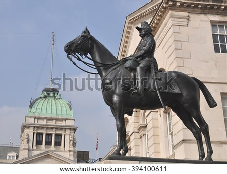LONDON - MARCH 12, 2016. The equestrian statue is a sculpture of Garnet Wolseley, 1st Viscount Wolseley, by Sir William Gascombe John installed at Horse Guards Parade in central London, UK. - stock photo
