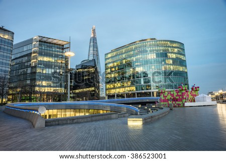 LONDON- March.5 : The shard building at London bridge, now complete is the tallest building in Europe at over 1,000 feet . London, March 5, 2016 - stock photo