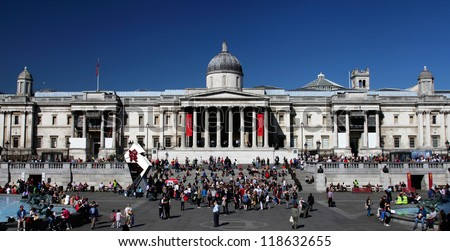 LONDON - MARCH 28: Trafalgar Square and the National Gallery in London, England on March 28, 2012. The square is the fourth most popular tourist attraction in the world.