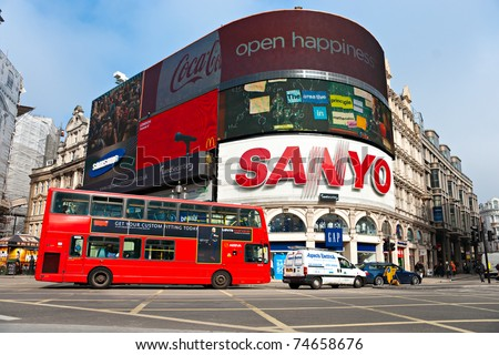 LONDON - MARCH 03 View of Piccadilly Circus on March 03, 2011 in London. Famous advertisements of TDK and Sanyo have been here for at least 20 years and are considered symbols of famous square. - stock photo