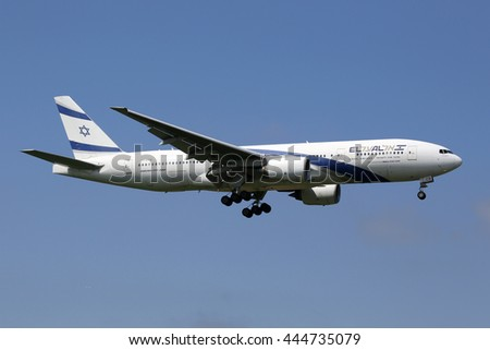 LONDON - MAY 13: A British Airways Airbus A380 approaching on May 13, 2016 in London. Airbus A380 is the world's largest passenger airliner. British Airways is the flag carrier of the United Kingdom. - stock photo