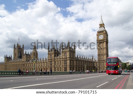 LONDON -MAY 31: A London Bus on Westminister Bridge with Big Ben on May 31, 2011. The London Bus service is one of the largest urban bus networks in the world.