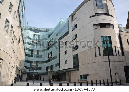 LONDON - May 4: BBC broadcasting house in London, UK, on May 4, 2014. The building is the headquarters of the BBC.  - stock photo