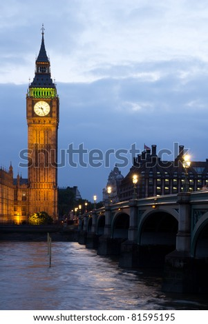 LONDON - MAY 29: Big Ben in early evening on the River Thames in London on May 29, 2011.  The bell in Big Ben is 2.28 meters tall (7 feet six inches) and 2.75 meters wide (9 feet). - stock photo
