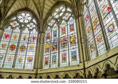 LONDON - MAY 28: Interior of the Westminster Abbey, May 28, 2015 in London. The Abbey has been the traditional place of coronation and burial site for English and, later, British monarchs