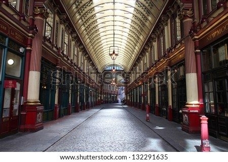 LONDON - MAY 13: Leadenhall market on May 13, 2012 in London. It is one of the oldest markets in London, dating back to the 14th century. - stock photo