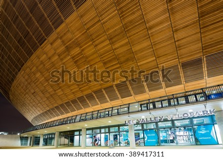 LONDON - MAY 11 2016. Lee Valley VeloPark is a cycling centre on Queen Elizabeth Olympic Park, London. It is owned Lee Valley Regional Park Authority, and it was opened to the public in March 2014