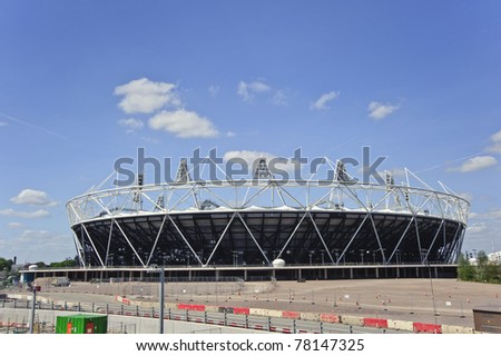 LONDON - MAY 24: London's Olympic Stadium in Stratford East London is completed three months ahead of schedule, with a capacity of 80,000 for the 2012 Olympics, May 24 2011 in London - stock photo