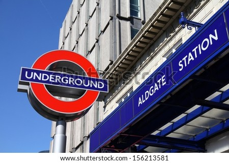 LONDON - MAY 13: London Underground station entrance on May 13, 2012 in London. London Underground is the 11th busiest metro system worldwide with 1.1 billion annual rides. - stock photo