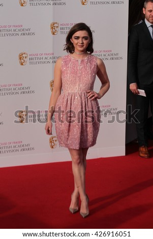 LONDON - MAY 8, 2016: Maisie Williams arrives for the House Of Fraser British Academy Television Awards at the Royal Festival Hall on May 8, 2016 in London