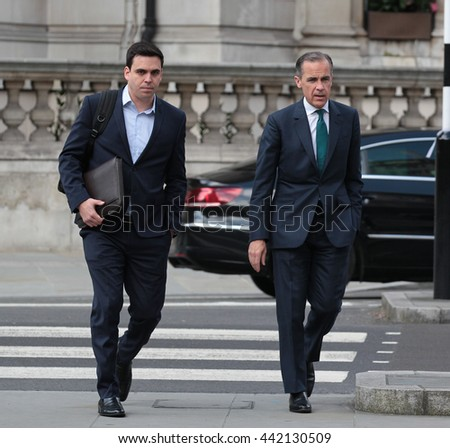 LONDON - MAY 15, 2016: Mark Carney Governor of the Bank of England seen arriving for the BBc Andrew Marr show at the BBC studios on May 15, 2016 in London