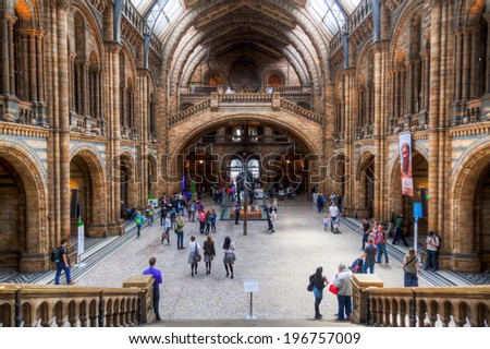 LONDON - MAY 20: Natural History Museum in South Kensington with unidentified people on May 20, 2014 in London. Built 1881 the museum ranked nationally 4th with 4.105.106 visitors 2009