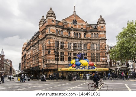 LONDON - MAY 28: Outside view of Palace Theatre (1891, design by Thomas Edward Collcutt), West End theatre, located on Cambridge Circus, City of Westminster, on May 28, 2013, London, UK. - stock photo