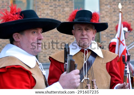 LONDON - MAY 14 2015:Pikemen and Musketeers of the Honourable Artillery Company parade in London,UK.It's 2nd oldest military organization in the world (after the Vatican's Pontifical Swiss Guard).