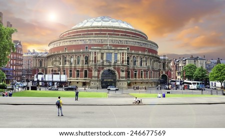 LONDON - MAY 15: Royal Albert Hall concert room during the sunset - storm is coming in London on May 15.2014 in England. - stock photo
