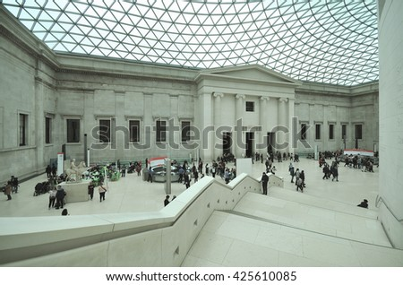LONDON - MAY 21, 2016. The Great Court of the British Museum, dating from 1859 with altrations by architects Foster and Partners and engineers Buro Happold in 2000, located in central London, UK. - stock photo