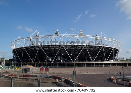 LONDON - MAY 31: The 2012 London Olympic stadium nears completion in Stratford London on May 31, 2011. - stock photo