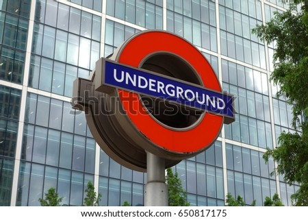 LONDON - MAY 29. Transport for London (TfL) use the famous 'Underground' logo for all other transportation systems in the capital , May 29, 2017
