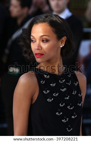 LONDON - MAY 2, 2013: Zoe Saldana attends the UK Premiere of Star Trek Into Darkness at The Empire Cinema on May 2, 2013 in London - stock photo
