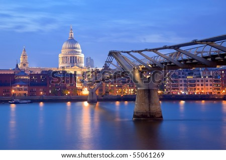 London Millennium bridge and St Paul Cathedral - stock photo
