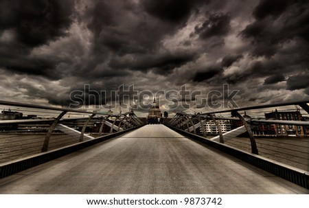 London moody skyline with storm overhead - stock photo
