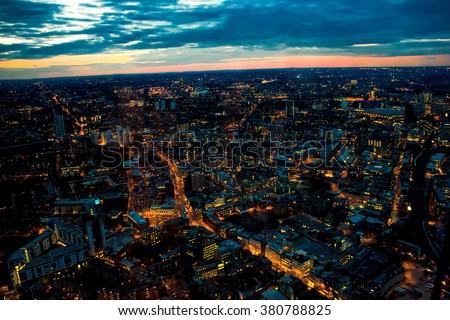 London Night Looking West Towards London Eye, Waterloo, Battersea. - stock photo