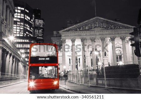 London Night View, include double decker bus, royal exchange in the back ground