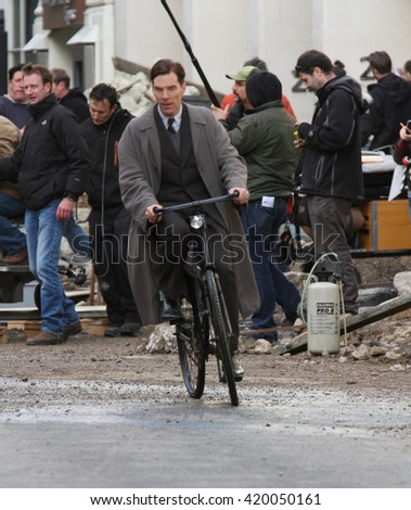 LONDON - NOV 3, 2013: Benedict Cumberbatch filming scenes for The Imitation Game on Nov 3, 2013 in London