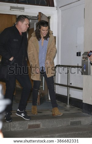 LONDON - NOV 12, 2015: Harry Styles seen at BBC Maida Vale Studios after the Live Lounge on Nov 12, 2015 in London
