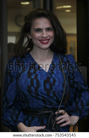 LONDON - NOV 10, 2017: Hayley Atwell American-British actress seen at the BBC Radio Two Studios in London