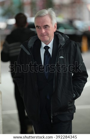 LONDON - NOV 22, 2015: John McDonnell British Labour Party politician attends the BBC Andrew Marr Show at the BBC on Nov 22, 2015 in London